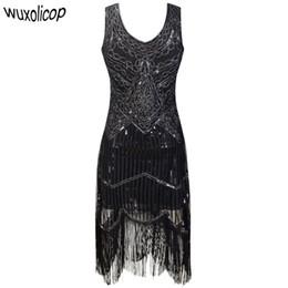 dc80c4b0d16 Women Party Dress Robe Femme 1920s Great Gatsby Flapper Sequin Fringe Midi  Dress Vestido Summer Art Deco Retro Black Dress Y190117