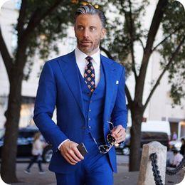 $enCountryForm.capitalKeyWord NZ - Royal BLue Men Suits for Wedding Groom Wedding Tuxedo Slim Fit Male Blazer Jacket Wide Peaked Lapel 3Piece Coat Pants Vest Costume Homme
