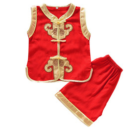 red baby vest UK - Solid Chinese Red Summer Boys Vest Suit Artificial Cotton Baby Performance Toddler Suits Clothing New