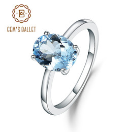 Sky Blue Ring NZ - Gem's Ballet 2.36ct Oval Natural Sky Blue Topaz Gemstone Ring 925 Sterling Silver Birthstone Solitaire Engagement Ring For Women J 190430