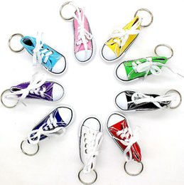 tennis shoes wholesale Australia - Creative Key Ring Chain Mini Canvas Shoes Sneaker Tennis Keychain Simulation Sport Shoes Funny Keyring Pendant Gift LXL907