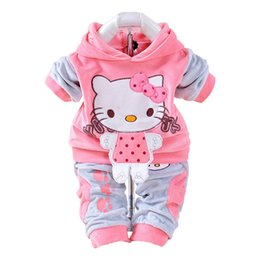 Sets Velvet NZ - 2019 New Spring autumn Baby Set Velvet Hello Kitty Cartoon Print Hoodie+ Pant Twinset Long Sleeve Velour Baby Clothing Sets J190520