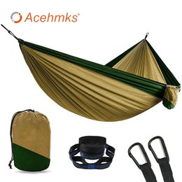 Wholesale Acehmks Outdoor Furniture Portable Hammock Two person Person Camping Survivors Travel Hammock Garden Swing Hammocks Parachute