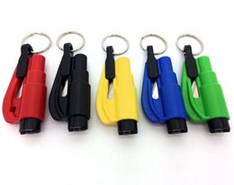 Wholesale Mini In Car Styling Pocket Auto Emergency Escape Rescue Tool Glass Window Breaking Safety Hammer with Keychain Seat Belt Cutter