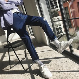 decorated pencils 2019 - 2019 Summer Men's New Holes Decorate Stretch Slim Fit Casual Pants Skinny Fashion Trend Jeans Solid Color Trousers