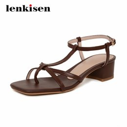 girl dress back tie Canada - Lenkisen korean girls high quality handmade square toe med square heel women shoes buckle straps beauty lady summer sandals L08