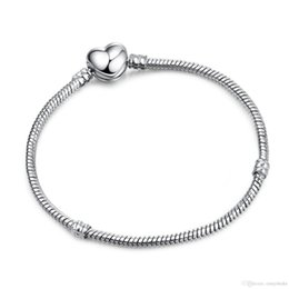 17cm snake chain Canada - 2018 19 New Arrival Authentic Silver Plated Heart Snake Chain Bracelet & Bangle 17CM-21CM Luxury Jewelry Making DIY LZ18