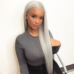 Grey lace front online shopping - Natural Hialrine Sliver Grey Long Straight Synthetic Lace Front Wigs Baby Hair Density High Temperature Fiber Swiss Lace wigs for women