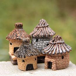 $enCountryForm.capitalKeyWord Australia - Mini Banda House Ornament 4 Designs Fairy Garden Miniature Micro Cottage Landscape Decoration For DIY Resin Crafts 60 Pieces FedEx