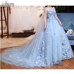 line high back tulle evening dresses UK - Princess Sky Blue 3D Flower Evening Dresses With tulle Cloak Lace Beaded Lush Ball Gowns Saudi Arabic Floral Evening Gowns