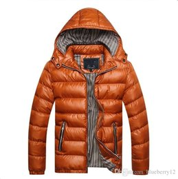 Wholesale long winter parka for men resale online – Mens Winter Jacket Thicken Warm Hooded Jacket for Men Colors Slim Parkas Casual Bubble Coat Plus Size M XL