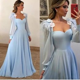 $enCountryForm.capitalKeyWord Australia - New 2019 Sky Blue Princess A-Line Prom Dresses With Handmade Flowers Feathers Long Sleeves Evening Formal Dresses Vestidos De Fiesta