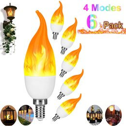 living packs Australia - LED Flame Effect Candlestick Bulb 2019 Upgrade 4 Modes E12 LED Flashing Candle Flame Light Party Light (6 Pack) Party atmosphere light bulb