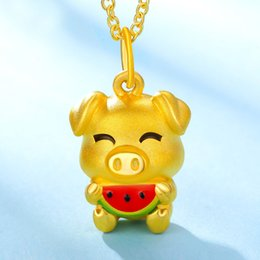 $enCountryForm.capitalKeyWord NZ - Pure 24K Yellow Gold Pendant Women 999 Gold Watermelon Pig Pendant 2.49g