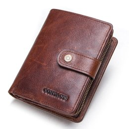 $enCountryForm.capitalKeyWord Australia - CONTACT'S genuine leather RFID vintage wallet men with coin pocket short wallets small zipper walet with card holders man purse