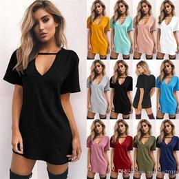 b0eec3e537 11 colors V Neck Halter Women Summer Dress Cotton Short Sleeve Casual Black  Cool Short Mini Dress Loose Party Beach Dresses 180326