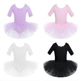 $enCountryForm.capitalKeyWord Australia - Children Kids Half Sleeves Cotton Dance Ballet Tutu Dress Leotard Girl Gymnastics Dancewear Ballerina Party Costumes
