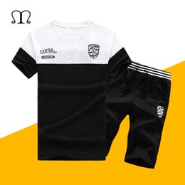 $enCountryForm.capitalKeyWord NZ - Summer Men Sets 2019 New Fashion Spring Sporting Suit Short Sleeve Tops Tee+ Shorts Mens Clothing 2 Pieces Sets Slim Tracksuits