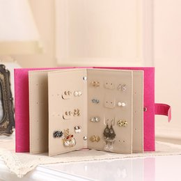$enCountryForm.capitalKeyWord Australia - PU Leather Portable Stud Earrings Collection Book Jewelry Organizer U-Shaped Buckle Earrings Collection Book Storage Box Holder