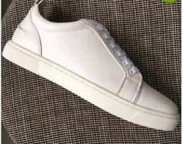 womens genuine leather NZ - New 2019 mens womens white genuine leather lace up low top sneakers,design red bottom causal shoes 36-46 drop shipping