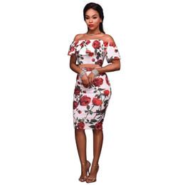 a4f3bcabfab 2sets Dear Lover Off Shoulder Dress Ruffle Sheath Red Rose Print Frilled  Women Short Sleeve Boho Bodycon Dress Ladies Vestidos C19031601