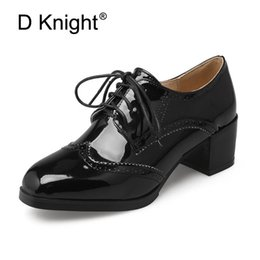 brogues shoes women Australia - Big Size 32-47 Black White High Heels Women Oxford Shoes Spring Summer Office Lady Thick Heels Brogues Mature Lace-up Pumps Shoe