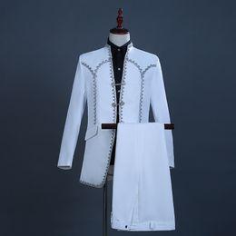 $enCountryForm.capitalKeyWord Australia - 2019 Autumn Winter White Long Sleeve Men's Two-Piece Suits Halloween Court Stage Performance Jacket Costumes(Jacket +Pants)