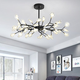 firefly pendant NZ - Firefly Tree Branch Modern led Chandelier Glass Leaf Chandeliers Ceiling lamp for Bedroom Art Decorative hanging light fixture