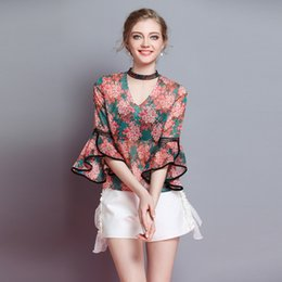 $enCountryForm.capitalKeyWord Australia - Spring summer women's new V-neck lace neck straps mandarin sleeve gorgeous fashion casual printed shirt tops
