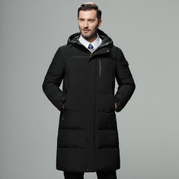 winter hooded coats UK - Middle-aged and old men's down jacket men's long thick middle-aged men's hooded big size daddy winter clothes father coat warm coat