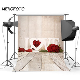 Wholesale Valentine s Day Photo Studio Backdrop Red Rose Flower Wood Board Photography Backdrops Camera Fotografica Foto Background