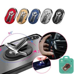 Wholesale ring holders resale online - 3 in Rotation Metal Car Mount Vent Bracket Desktop Phone Holder Ring Holder With Retail Package for iPhone Samsung Huawei Moto