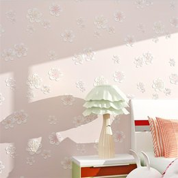 pink flower bedroom wallpaper NZ - 3D stereo warm garden wallpaper bedroom living room non-woven wallpaper pink flower girl children's room 3d