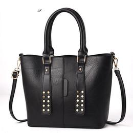 Deep Tote Bag Australia - good quality Women's Shoulder Bag Fashion Female Handbags Winter Large Capacity Rivet Tote Bag Casual Pu Leather Women Messenger Bag