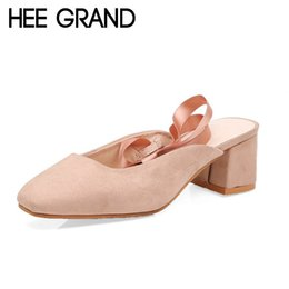 $enCountryForm.capitalKeyWord NZ - Luxury Designer Hee Grand Women 2019 New Fashion Pumps High Heel Pumps Flock Vamp With Riband Lace-up Mujer Sexy Ballet Dance Shoes Xwz4857