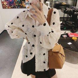 $enCountryForm.capitalKeyWord Australia - Women's fashion blouse shirts trendy retro black wave dot print translucent lace feathers free size single-breasted tops