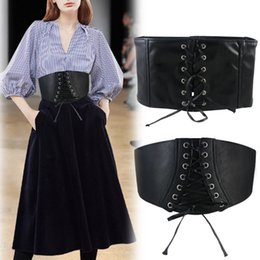 $enCountryForm.capitalKeyWord Australia - Women's fashion elastic stretch wide band corset waist belt pu leather band belt woman stretch cinch Girdle Cummerbund