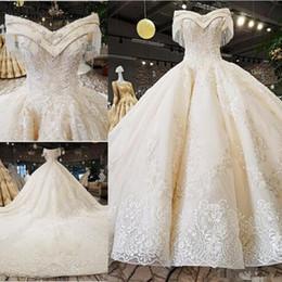 $enCountryForm.capitalKeyWord UK - Amazing V-neck Off The Shoulder A-line Wedding Dresses Beaded Appliques Satin Wedding Bridal Gowns Plus Size Middle East Vestido De Novia 37