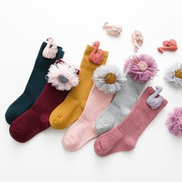 Boys Toddlers Socks NZ - 1pair Newborn Kids Girl Boy Knee High Socks Baby And Girl Socks Stripe And Floral Cotton Cute Infant Toddler Socks 1-8 Years