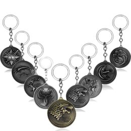 $enCountryForm.capitalKeyWord Australia - Game of Thrones Keychain House Stark Targaryen Red Dragon Keychain Direwolf Keyrings Lannister Lion Chaveiro Men Jewelry