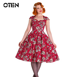 Skull Ball Caps Australia - Oten Summer Skater Dress Elegant Vintage Red Ball Gown Sugar Skulls Flower Print 50s Rockabilly Evening Party Large Size Clothes J190513