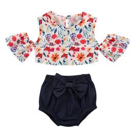 ca845d526561 Ins Summer Infant Baby Girls Set Kids Off Shoulder Florals Crop Tops +  Bowknot Shorts Girl 2pcs Outfits Children Set 14781