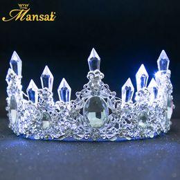$enCountryForm.capitalKeyWord Australia - New Shining Glowing Tiaras White Blue Led Light Rhinestone Wedding Crown Luxury Princess Diadem For Bride Hair Accessories Hg107 J 190430