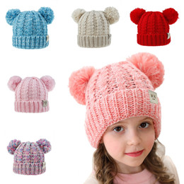knitted wool beanies NZ - Two Pompons Winter Wool Knit Hat For Children Kids Baby Warm Winter Wool Knit Beanie Lovely Fur Pom Pom Bobble Hat Cap Accessories M221Y