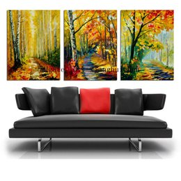 Oil Paint Abstract Forest Hd Australia - Leonid Afremov : Forest Leaves,3 Pieces Home Decor HD Printed Modern Art Painting on Canvas (Unframed Framed)
