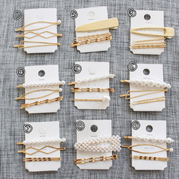 hair accessories beads girls 2019 - 5 Set Women Girls Vintage Pearl Beads Hair Clip Barrette Comb Bobby Pin Hairpin Hairband Clamps Party Hair Accessories c