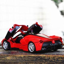Hots wHeels online shopping - Enjoychildhood Ferraris Scale Alloy Car Model Diecast Sound Light Pull Back Door Toy For Children Hot Toy Car Hot wheel J190525