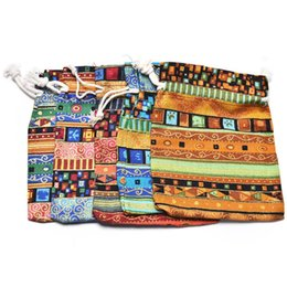 egyptian jewelry Canada - Egyptian Style Jewelry Coin Pouch Print Drawstring Gift Bag Cotton Sachet Candy Travel Purse Ethnic