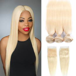 Chinese  Leila Remy Blonde Color Brazilian Hair Weave With Closure Straight Style Human Hair 3 Bundles With Lace Closure 613 manufacturers