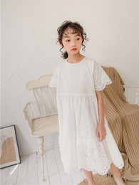 big girls wholesale dresses Canada - Big girls lace hollow dress 2020 spring new children full lace flower embroidered dress old kids waves short sleeve princess dress A1938